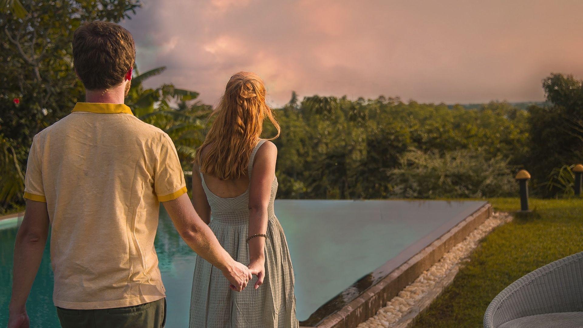 Couple enjoying an evening view in Sri Lanka