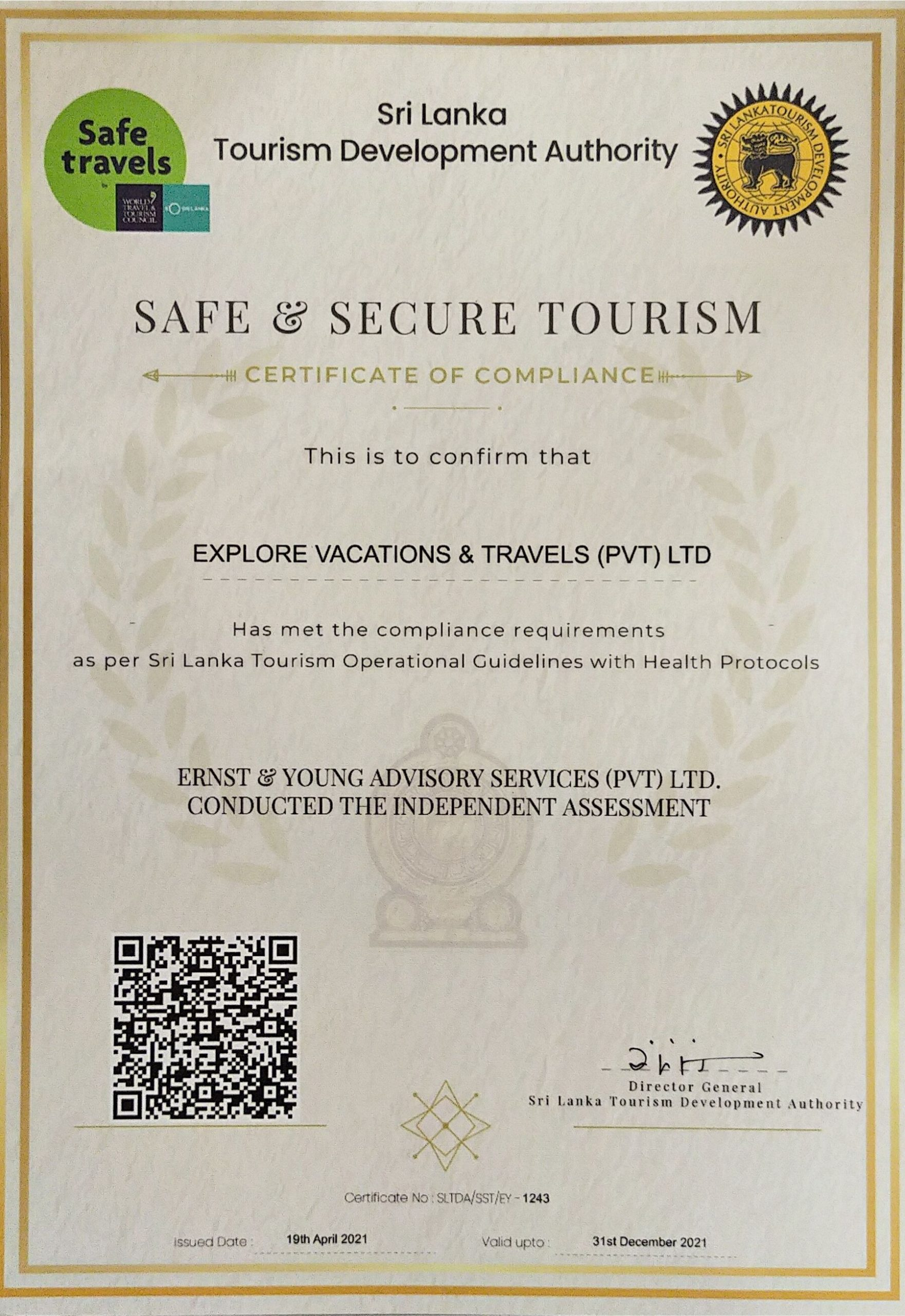 Explore Vacations & Travels (Pvt) Ltd Safe & Secure Certificate
